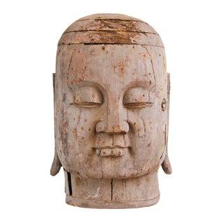 Large Old Wood Monk Head