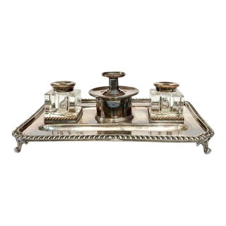 Antique English Silver Plate Inkstand With Inkwells For Sale