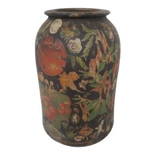 19thC. Earthenware Clay Jug Decoupage Folk Art Victorian Scrap Art For Sale