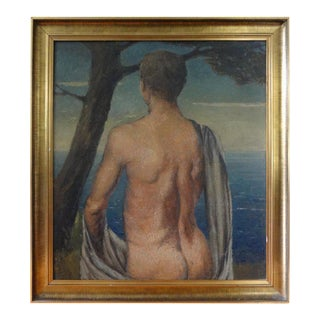 1930s Italian Male Nude Oil on Wood Panel Painting For Sale