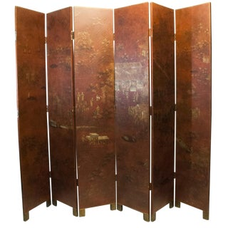 "Chinoiserie Red and Gold Large Scale Room Divider 85"" x 96"""