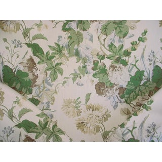 Cottage Lee Jofa Maise Linen Tan / Leaf Floral Upholstery Fabric - 9-7/8y For Sale