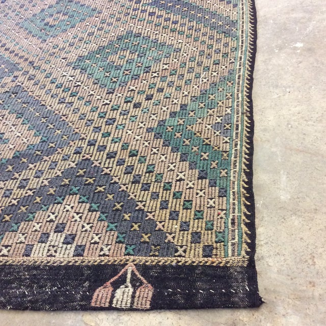 "1960's Turkish Sumac Kilim - 6'x11'6"" For Sale - Image 4 of 13"