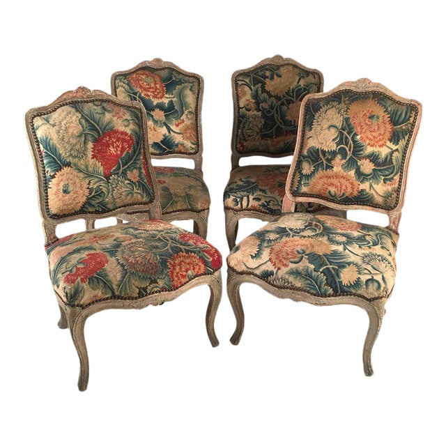 French Louis XV Chairs with Period Floral Needlework Upholstery- Set of 4 For Sale