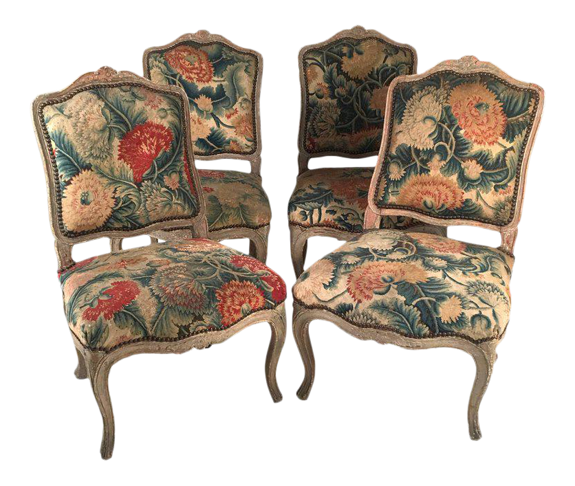 French Louis XV Chairs With Period Floral Needlework Upholstery  Set Of 4  For Sale