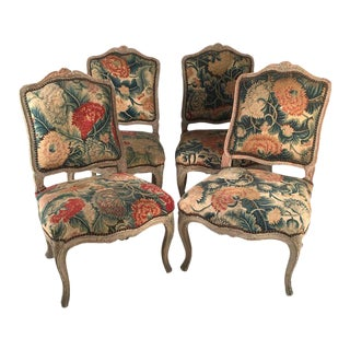 Set of Four French Louis XV Chairs with Period Floral Needlework Upholstery