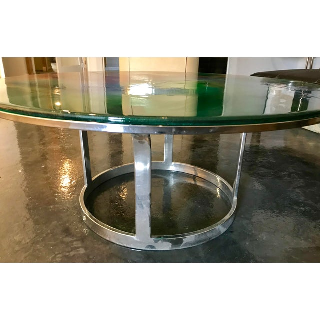 Designer Hand Painted Epoxy Resin on Glass Chrome Accent Table For Sale - Image 5 of 6
