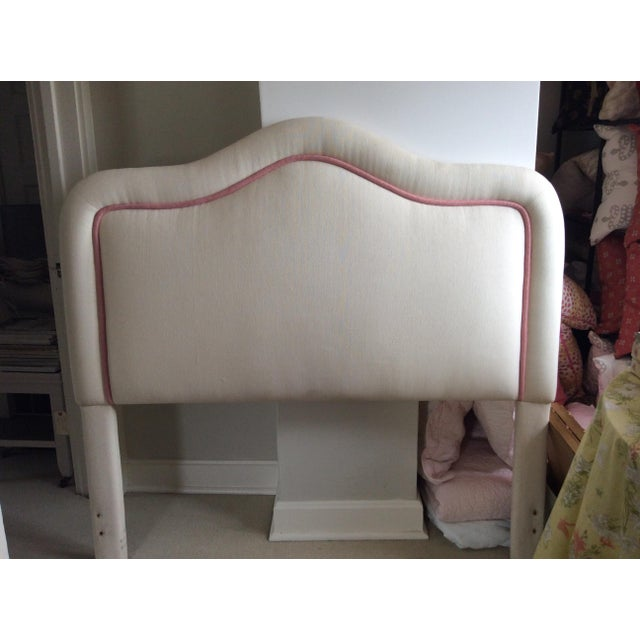 Newly Upholstered Headboard, classic Shape. This headboard will fit either a full or a queen size bed.