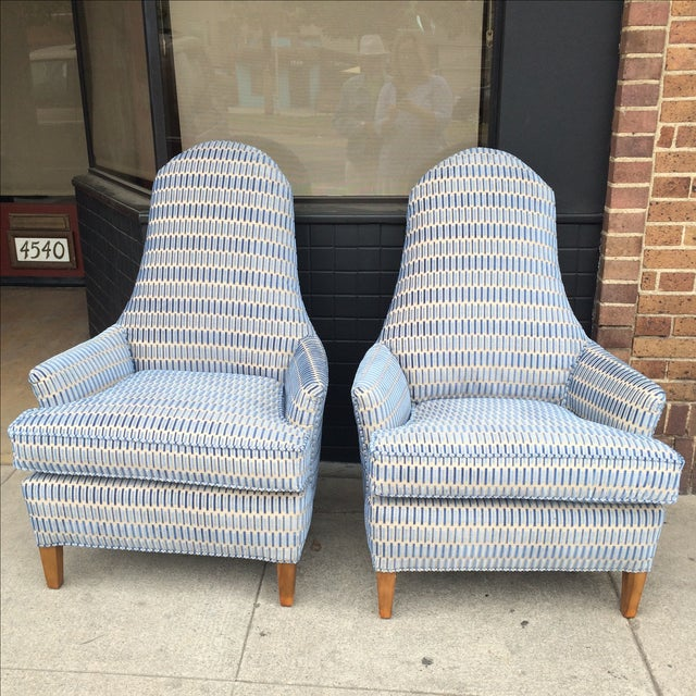 Hickory Cut Velvet Club Chairs - A Pair - Image 2 of 7