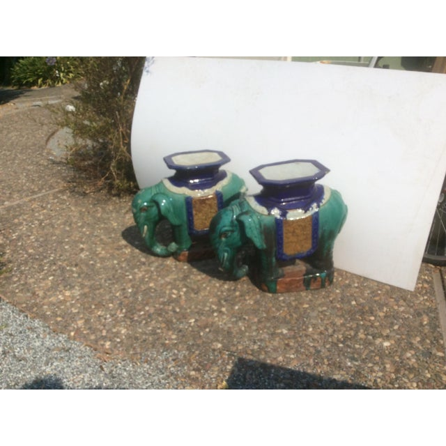 Pair of Antique Chinese Ceramic Elephant Garden Stools For Sale - Image 4 of 10