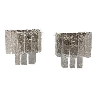 "Murano Glass Wall Sconces ""Pullegoso Glass"" - a Pair For Sale"