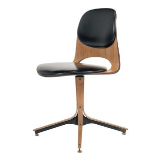 George Mulhauser Walnut & Vinyl Bent Wood Swivel Desk Chair For Sale
