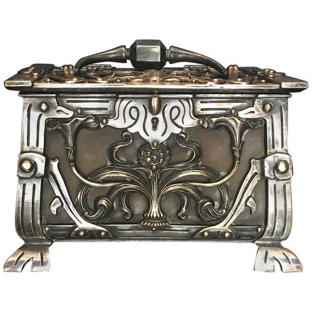 20th Century Art Nouveau Silvered Heavy Bronze Jewelry Box Casket For Sale - Image 13 of 13
