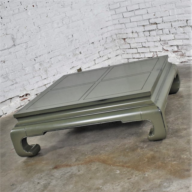 Asian Monumental Square Asian Ming Style Lacquered Coffee Table in Sage Green For Sale - Image 3 of 13