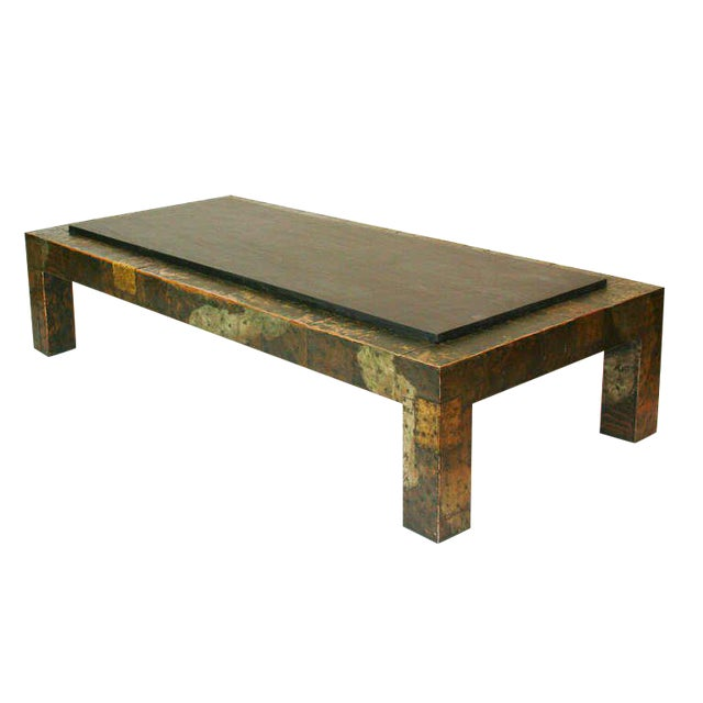 Large Paul Evans Patchwork and Slate Coffee Table For Sale