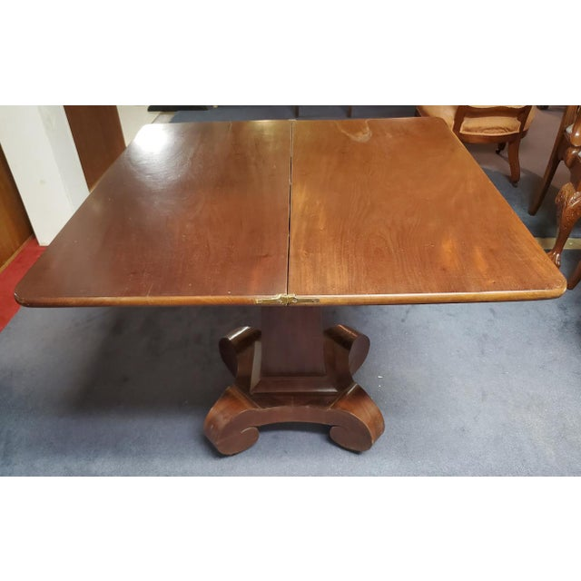 Mid 19th Century Antique Empire Style Flip Top Mahogany Game Table For Sale - Image 5 of 11