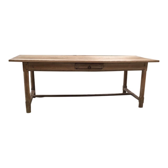 French Antique Pale Blond Farm Table. Great character. Sits on Substantial square chamfered legs with stretchers between....