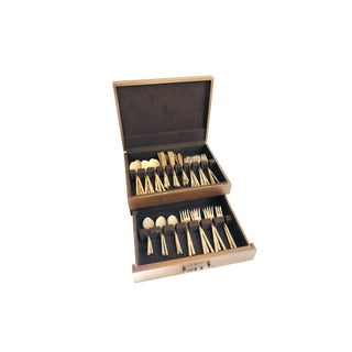 Vintage Nickle Bronze Bamboo Flatware Set - Service for 10 Plus - 55 Pieces For Sale