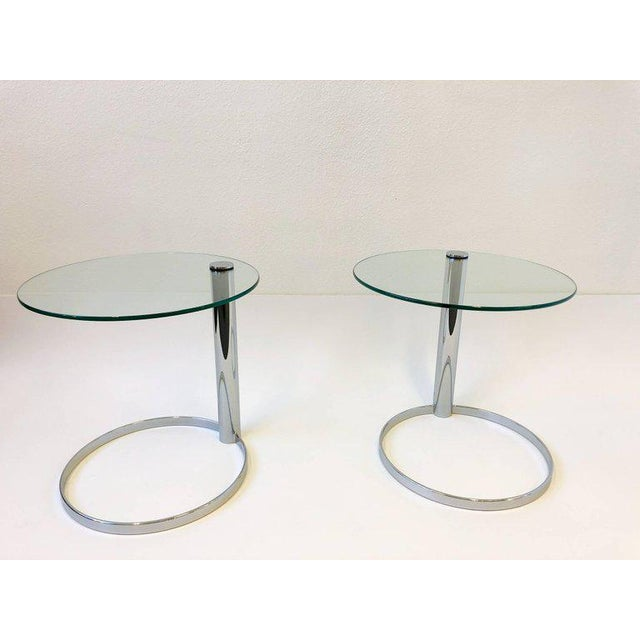 Pair of Chrome and Glass Side Tables by John Mascheroni for Swaim For Sale In Palm Springs - Image 6 of 10