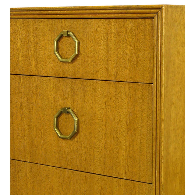 Gold Rare Pair of 1940s Edward Wormley for Dunbar Ribbon Mahogany Chests For Sale - Image 8 of 9