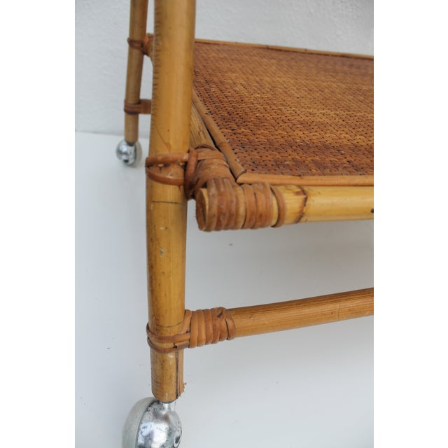 Rattan Vintage Small Rolling Wicker & Rattan Tea Cart For Sale - Image 7 of 11