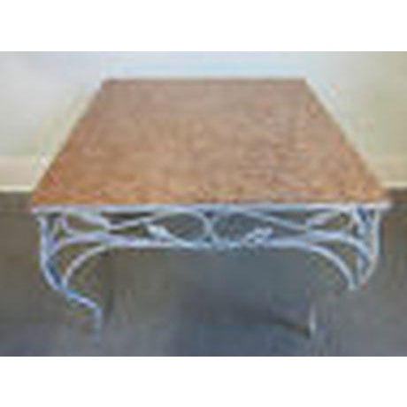 High quality, heavy, iron based table w/ beautiful, Italian marble top.