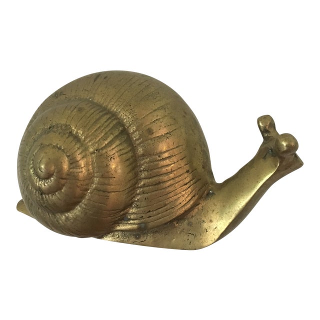 Mid-Century Brass Snail Figurine For Sale