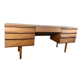 Mid Century Modern Teak Desk or Vanity For Sale