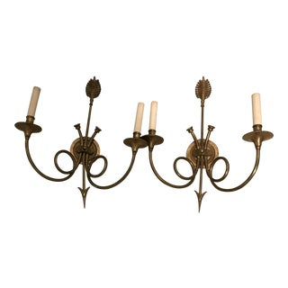 Brass Hunt Wall Sconces - a Pair For Sale