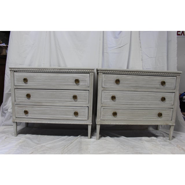 20th Century Gustavian Gray Oak Bedside Chests - a Pair For Sale - Image 9 of 9