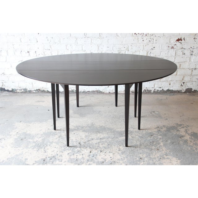 Edward Wormley for Dunbar Mid-Century Walnut Oval Drop-Leaf Dining Table For Sale - Image 13 of 13