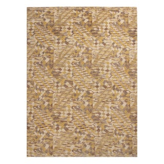 Rug & Kilim's Scandinavian-Inspired Geometric Beige and Yellow Wool Pile Rug For Sale