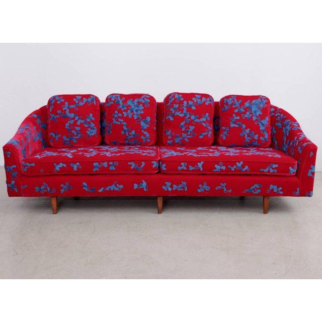 Harvey Probber Sofa with Jupe by Jackie hand embroidered fabric For Sale - Image 9 of 9