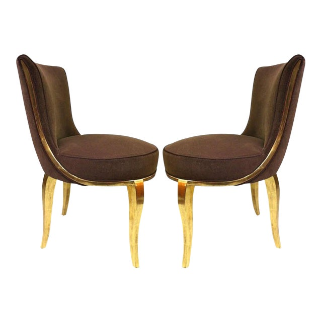 Paul Follot Exquisite Pair of Boudoir Chairs Newly Gilded and Recovered For Sale