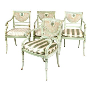 19th Century Regency Style Neoclassical Painted Armchairs - Set of 4 For Sale