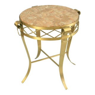 Late 20th Century French Neoclassical Round Rogue Marble Top Bronze Gueridon Occasional Table For Sale