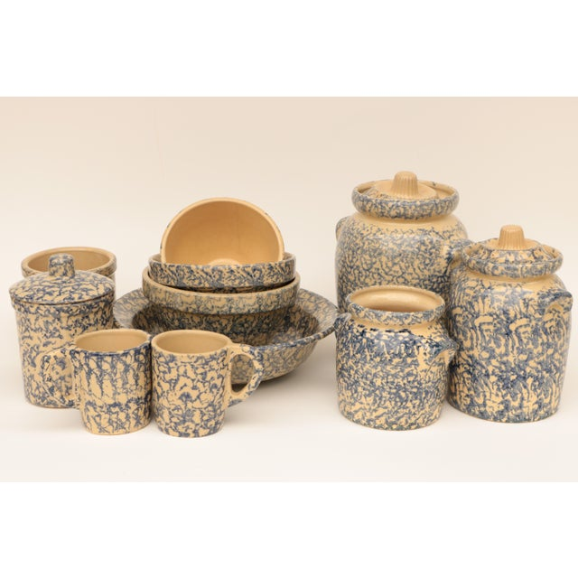 Blue Blue Spongeware Pottery Instant Collection - Set of 11 For Sale - Image 8 of 8