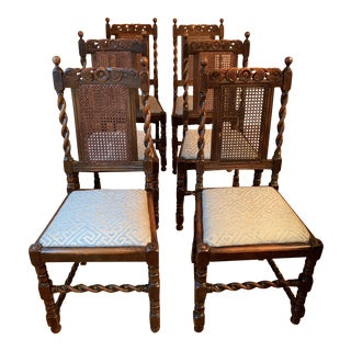 Vintage Barley Twist Dining Chairs - Set of 6 For Sale