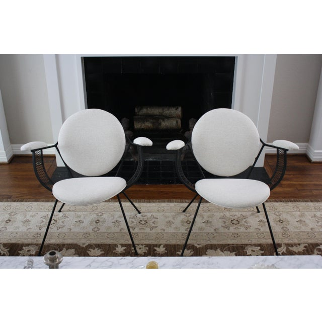 Mid-Century Modern Mathieu Matégot Style Perforated Iron and Bouclé Upholstered Armchairs For Sale - Image 10 of 13
