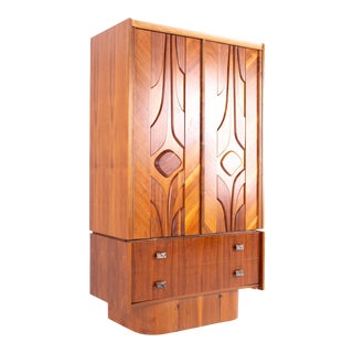Canadian Brutalist 2 Piece Mid Century Walnut Highboy Dresser Armoire Gentleman's Chest For Sale