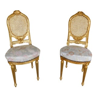 Vintage Louis XVI Style Gilt Frame Accent Chairs - a Pair For Sale