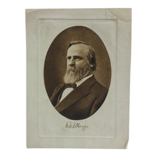 """Vintage Presidential Print on Paper """"R.B. Hayes"""" Circa 1900 For Sale"""