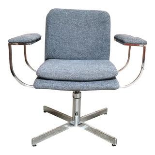 Mid-Century Modern Fortress Blue Upholstered Chrome Swivel Desk Chair
