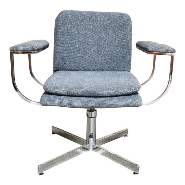 Mid-Century Modern Fortress Blue Upholstered Chrome Swivel Desk Chair For Sale