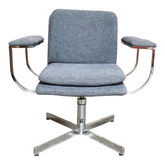 Mid-Century Modern Fortress Blue Upholstered Chrome Swivel Desk Chair - Image 1 of 10