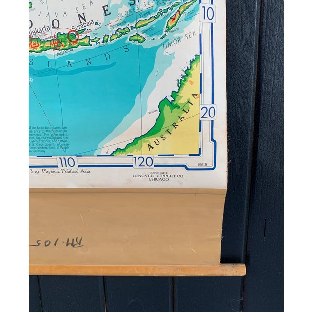 1960s Mid 20th Century Denoyer Geppert Pull Down Map of Asia For Sale - Image 5 of 8