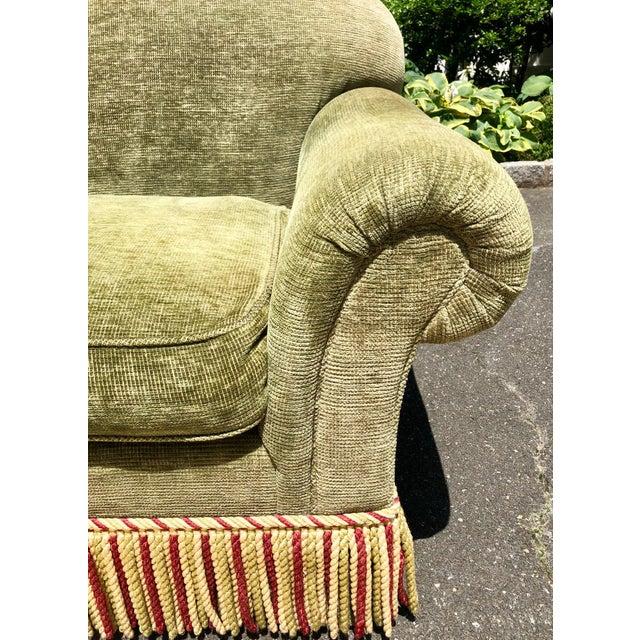 1990s Vintage Edward Ferrell Green Fringe Sofa For Sale - Image 4 of 13