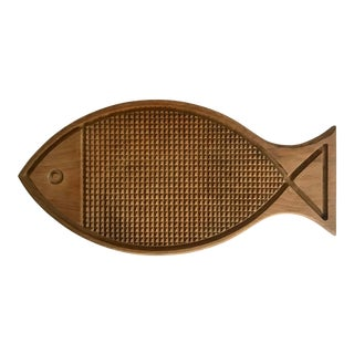 Vintage Handmade Wood Fish Cutting Board For Sale