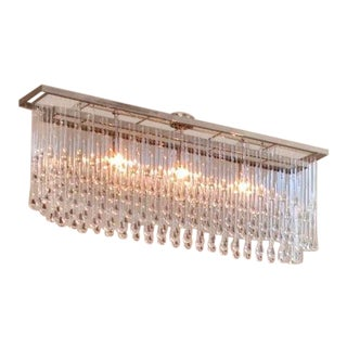 Ochre Glass / Nickel Drizzle Chandelier For Sale