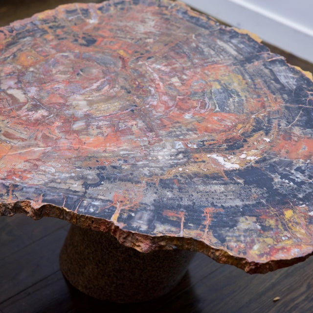 1970s Karl Springer Petrified Wood Side Table For Sale - Image 5 of 10